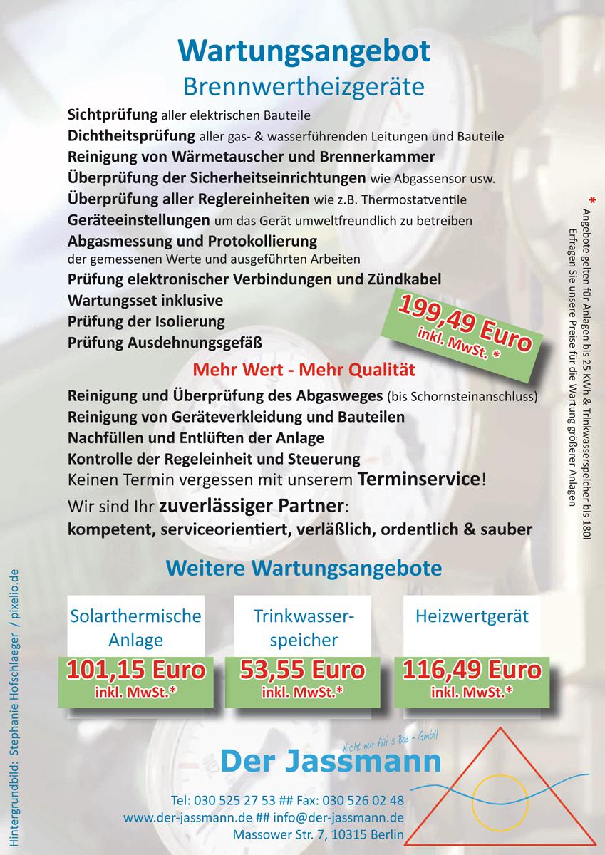 Wartung Ihrer Heizungsanlage vom Jassmann in Berlin